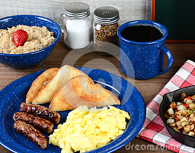 Country Style Scrambled Egg Breakfast Stock Photo