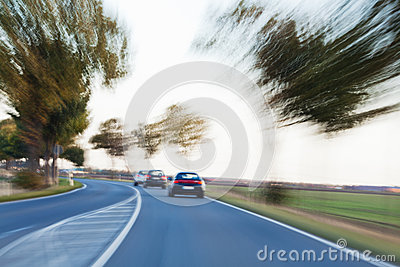 Country traffic with motion blur