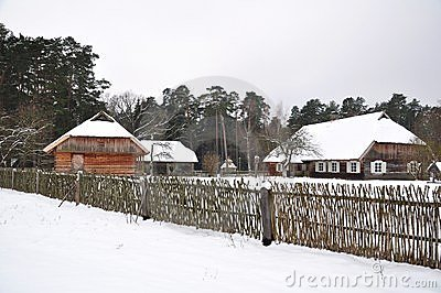 Country village in winter