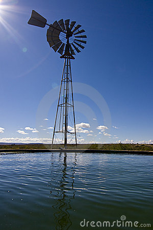 Country windmill & dam
