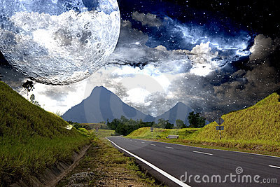 Countryside Highway with Galactic Background
