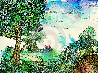 Countryside idyll with a hollow hill