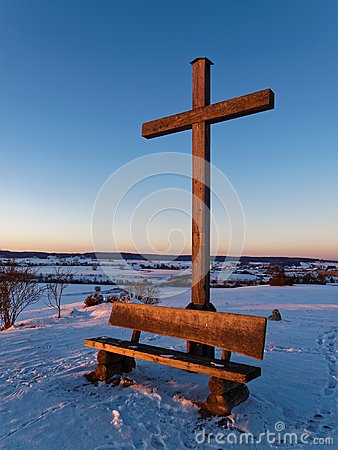 Free Countryside Landmark In Snowy Winter By Sunset In Germany Royalty Free Stock Photo - 105997345