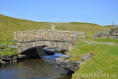 Countryside landscape: bridge, river, blue sky