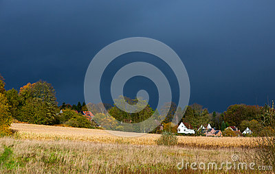 Countryside landscape before thunderstorm