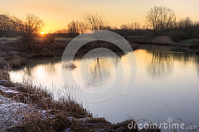 Countryside landscape Winter sunrise