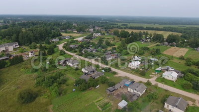 Countryside rural village, aerial view stock footage