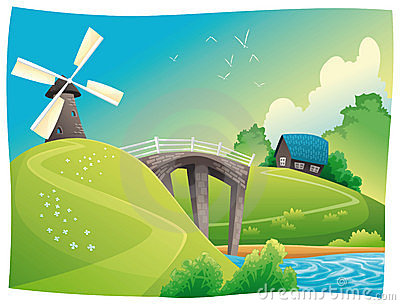 Countryside With Windmill Stock Image Image 13356001