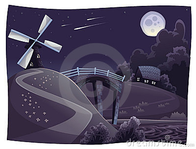 Countryside with windmill in the night