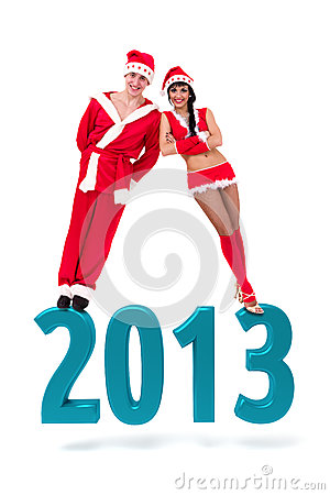 Couple on a 2013 New Year sign