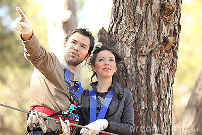 Couple in adventure park