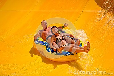 Couple in the aquapark