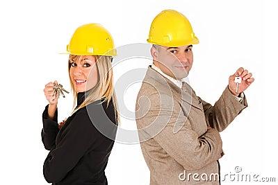 Couple of architect with keys