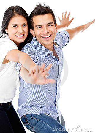 Couple with arms open