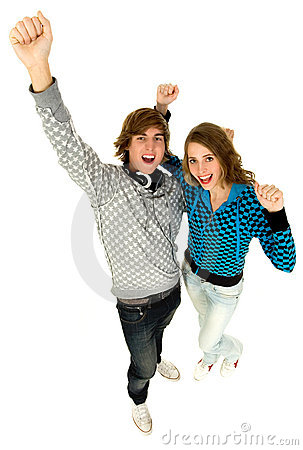 Couple With Arms Raised Royalty Free Stock Image - Image: 12043046
