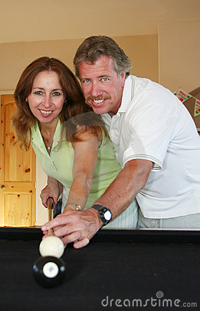 Free Couple At Pool Table Stock Photos - 5073323
