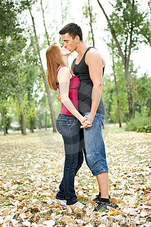 Couple in in autumn park