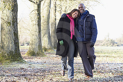 Couple On Autumn Walk