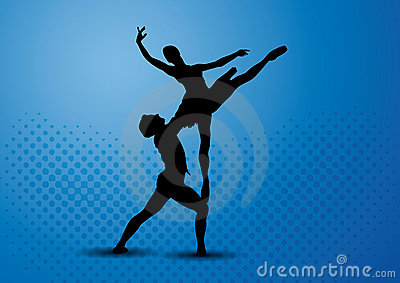Couple ballet dancers silhouette
