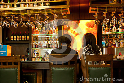 Couple in the bar Editorial Image
