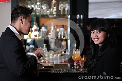 Couple at bar