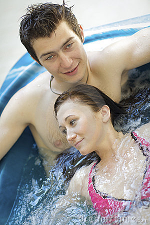 Couple bathing at jacuzzi