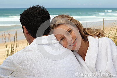 Couple in bathrobes