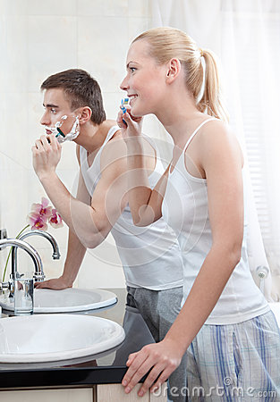 Couple is in the bathroom