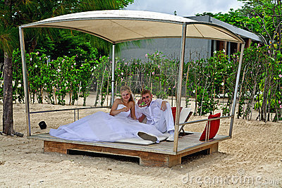 Couple in a beach pavillion
