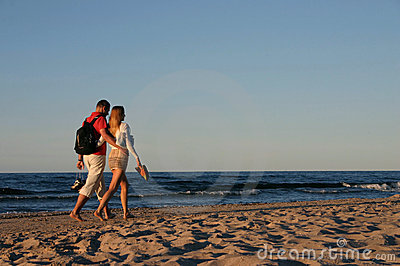 Couple during a beach stroll