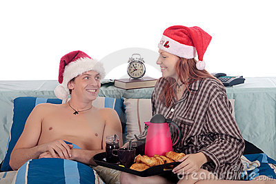 Couple bedroom breakfast Xmas