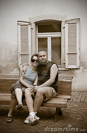 Couple on bench in sepia