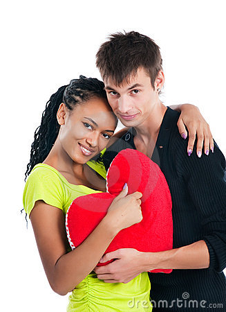 Couple with a big heart on white background