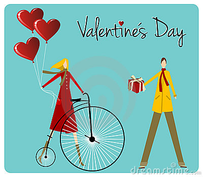 Couple with bike Valentines day greeting car