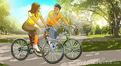 Couple on bikes in the park