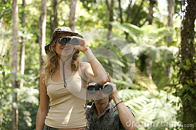 Couple With Binoculars Royalty Free Stock Image - Image: 25327466