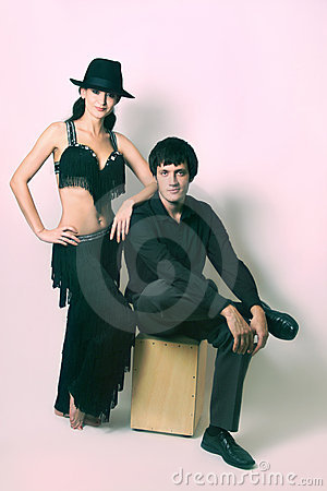 Couple in black dancers costume