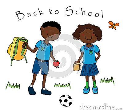 Couple of black kids going to school