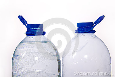 Couple of blue bottles of water
