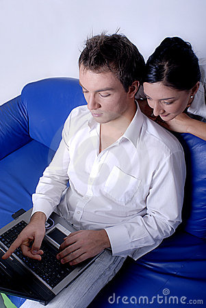 Couple browsing the internet