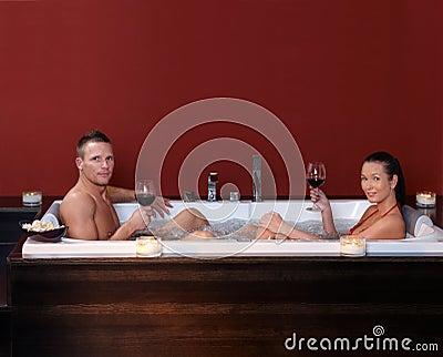 Couple in bubble bath