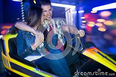 Couple in a bumper car