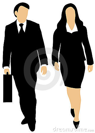 Couple of business people walking forward