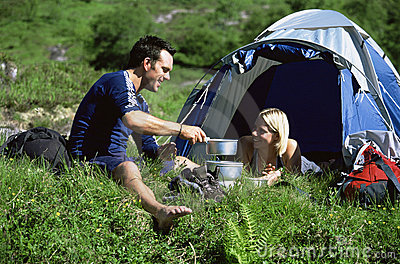 Couple camping in the great outdoors
