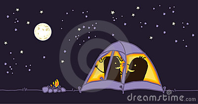 Couple in a camping tent by night