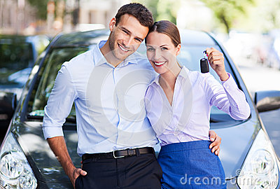 Couple with car keys