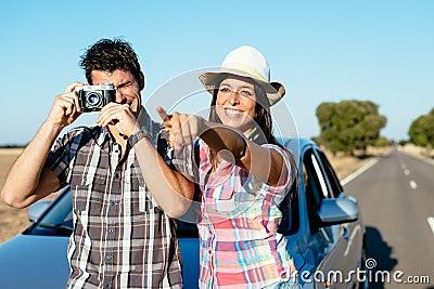 Couple on car roadtrip vacation