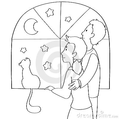 Couple and cat coloring vector