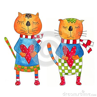Couple of cats. Greeting card