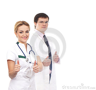 A couple of Caucasian doctors holding thumbs up